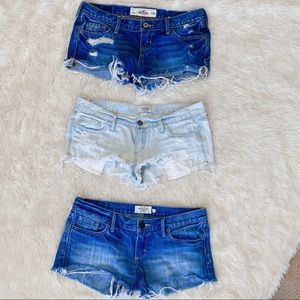 3 pairs of cut off jean shorts